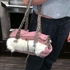 Pink bag with rabbit fur